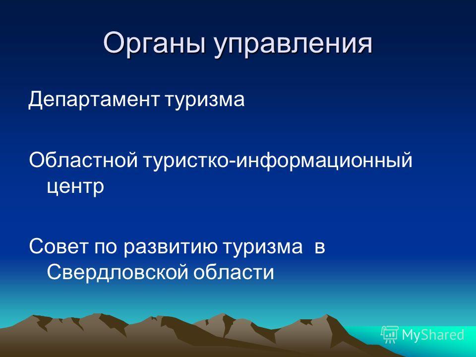 Органы управления Департамент туризма Областной туристко-информационный центр Совет по развитию туризма в Свердловской области