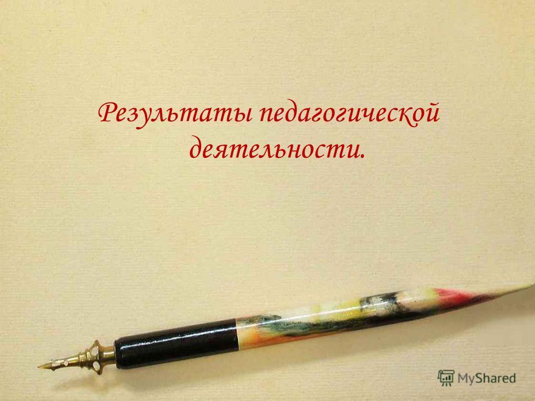 Результаты педагогической деятельности.
