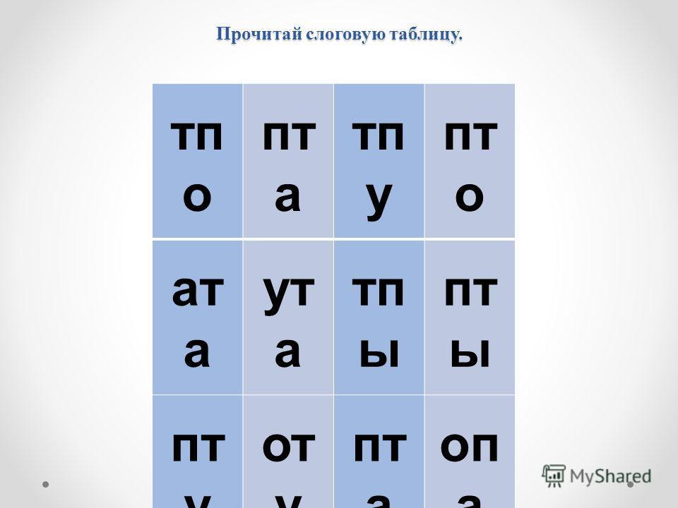Прочитай слоговую таблицу. тп о пт а тп у пт о ат а ут а тп ы пт ы пт у от у пт а оп а от а тп а уп а ап а