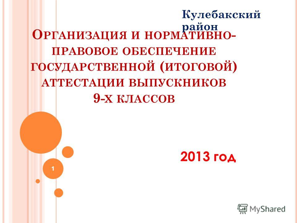 О РГАНИЗАЦИЯ И НОРМАТИВНО - ПРАВОВОЕ ОБЕСПЕЧЕНИЕ ГОСУДАРСТВЕННОЙ ( ИТОГОВОЙ ) АТТЕСТАЦИИ ВЫПУСКНИКОВ 9- Х КЛАССОВ Кулебакский район 1 2013 год