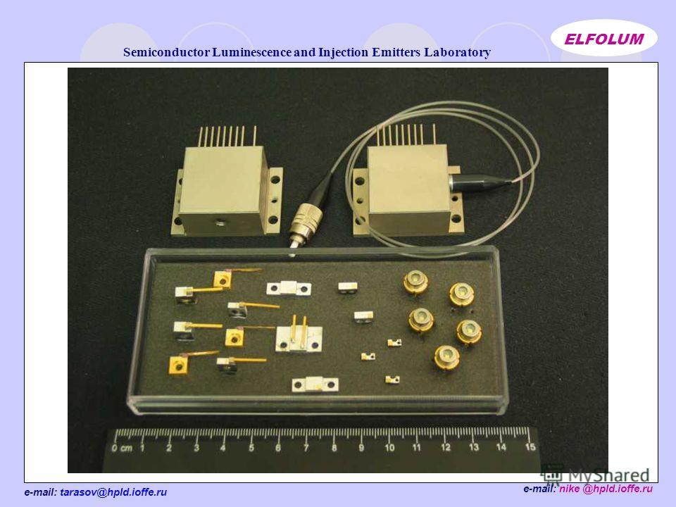e-mail: tarasov@hpld.ioffe.ru Semiconductor Luminescence and Injection Emitters Laboratory ELFOLUM e-mail: nike @hpld.ioffe.ru