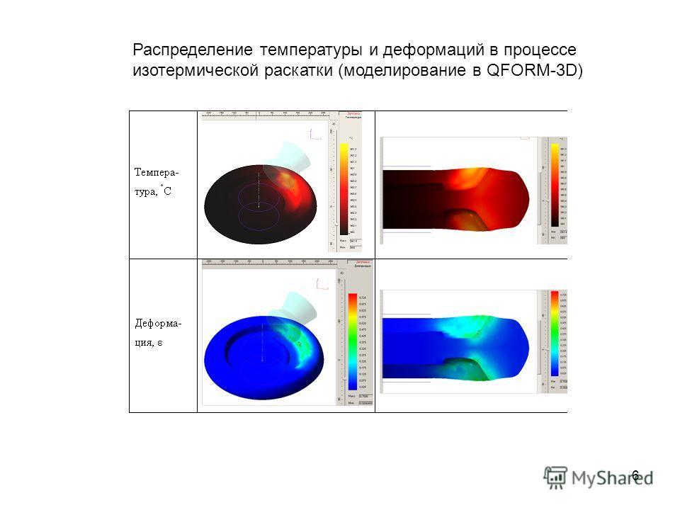 6 Распределение температуры и деформаций в процессе изотермической раскатки (моделирование в QFORM-3D)