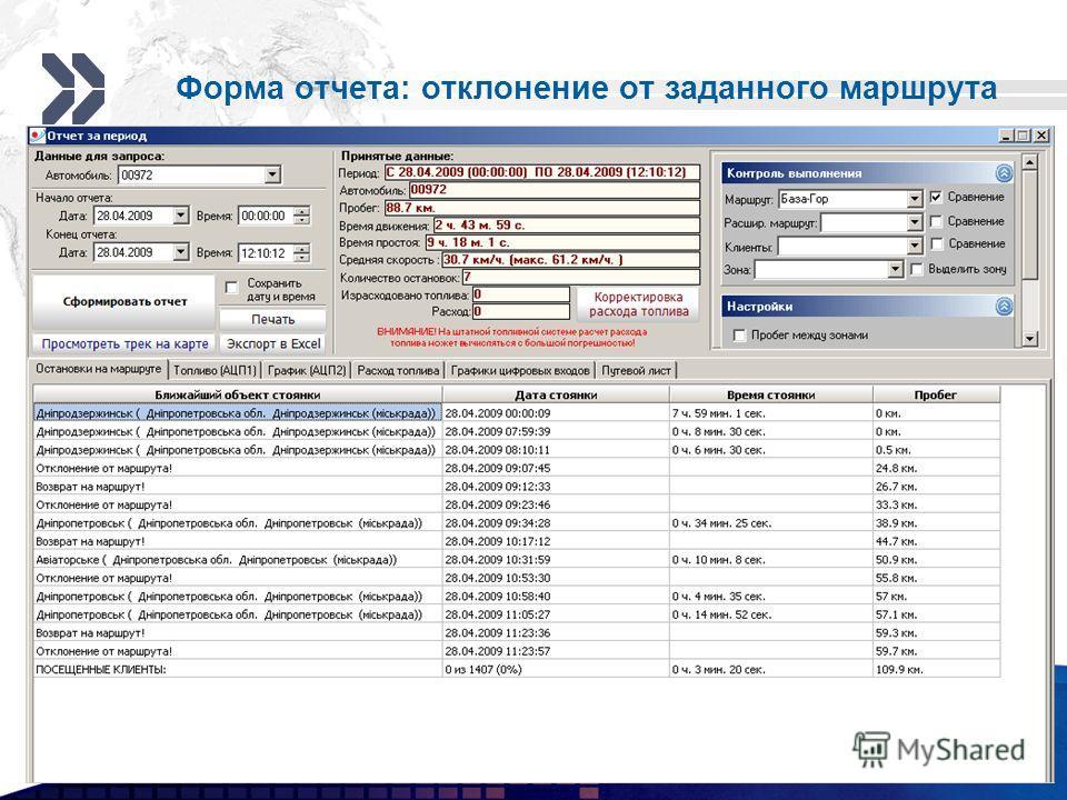 Add your company slogan LOGO Форма отчета: отклонение от заданного маршрута