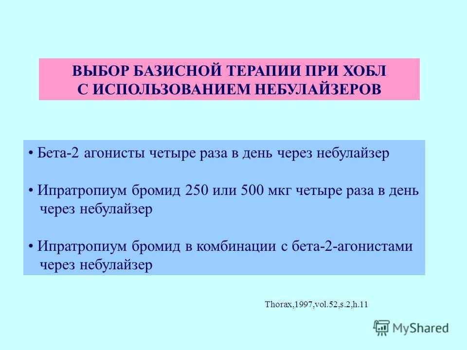 ВЫБОР БАЗИСНОЙ ТЕРАПИИ ПРИ ХОБЛ С ИСПОЛЬЗОВАНИЕМ НЕБУЛАЙЗЕРОВ Бета-2 агонисты четыре раза в день через небулайзер Ипратропиум бромид 250 или 500 мкг четыре раза в день через небулайзер Ипратропиум бромид в комбинации с бета-2-агонистами через небулай