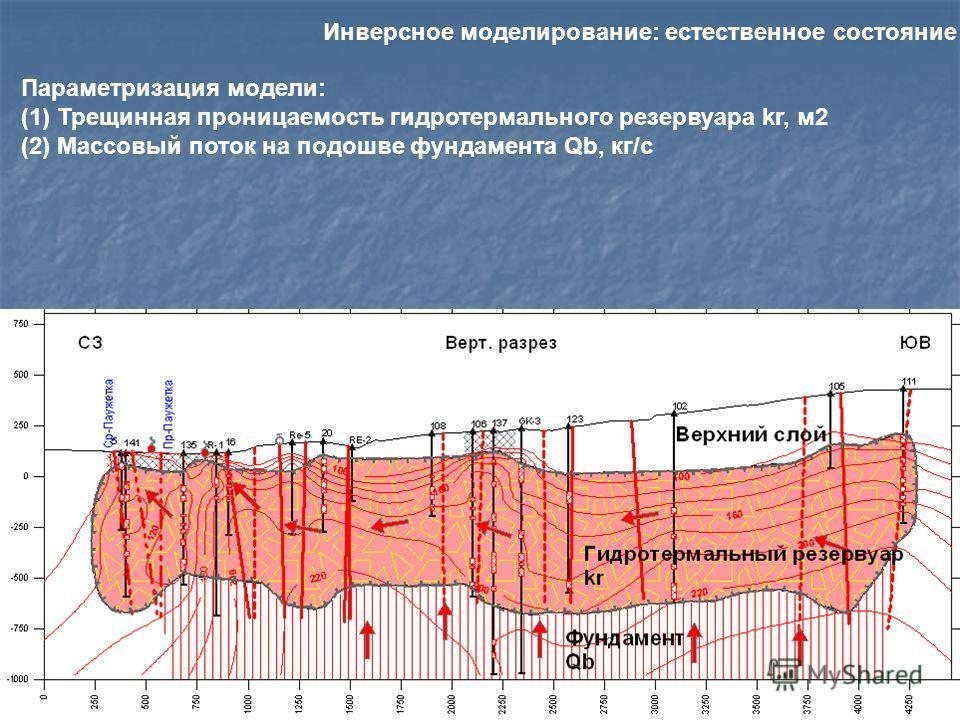 Параметризация модели: (1) Трещинная проницаемость гидротермального резервуара kr, м2 (2) Массовый поток на подошве фундамента Qb, кг/с Инверсное моделирование: естественное состояние