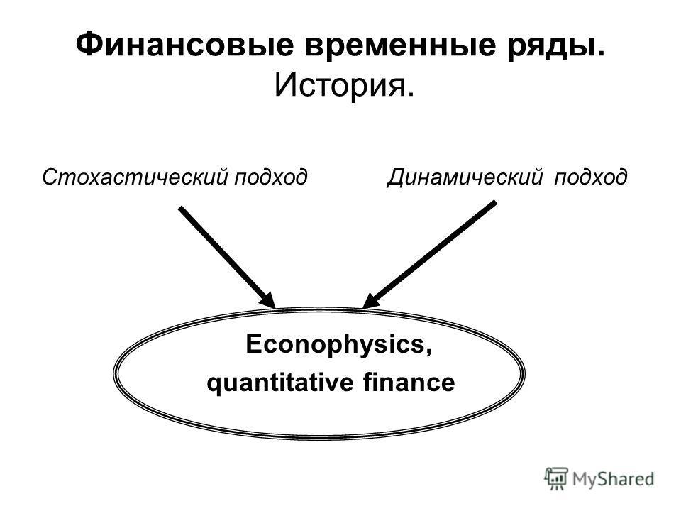 Стохастический подход Динамический подход Econophysics, quantitative finance Финансовые временные ряды. История.
