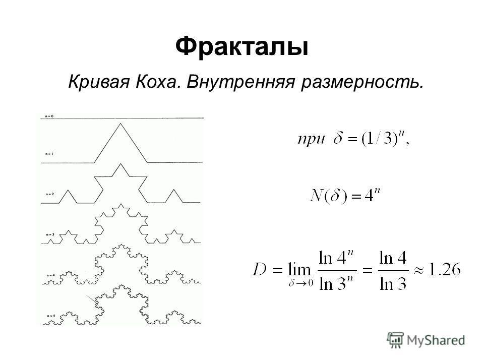 Фракталы Кривая Коха. Внутренняя размерность.