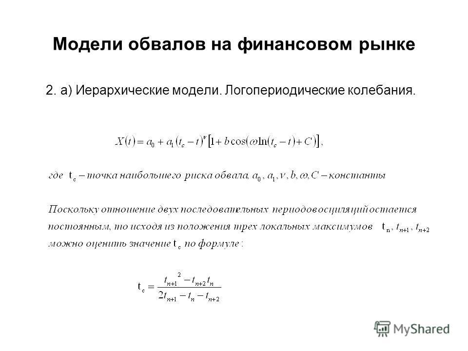 Модели обвалов на финансовом рынке 2. a) Иерархические модели. Логопериодические колебания.