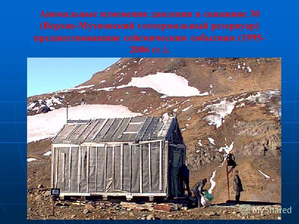 Аномальные изменения давления в скважине 30 (Верхне-Мутновский геотермальный резервуар) предшествовавшие сейсмическим событиям (1995- 2006 гг.).