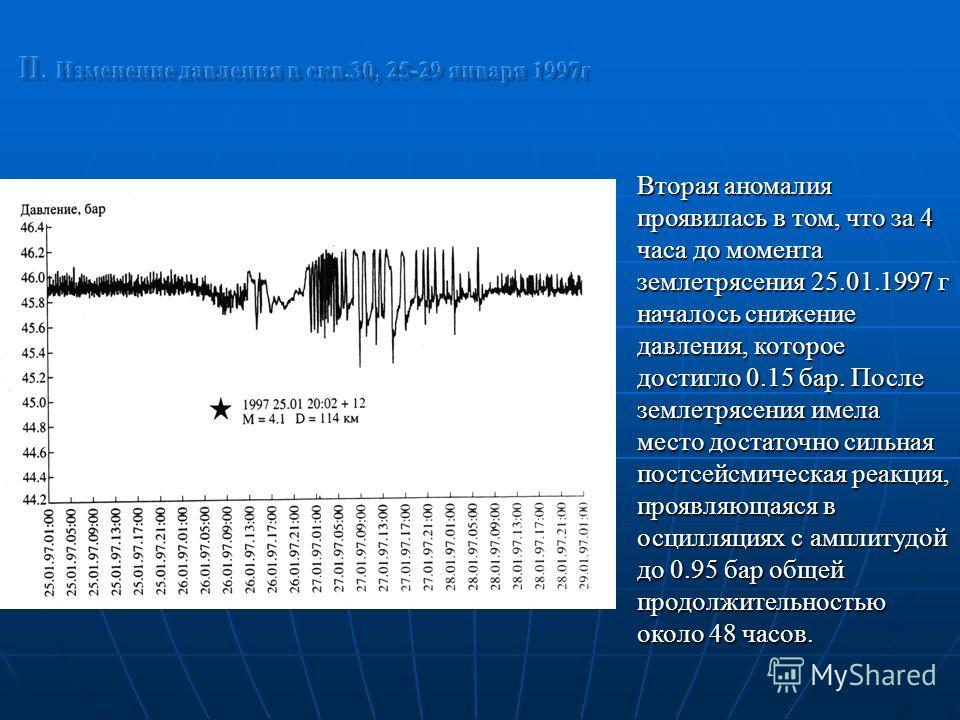 Вторая аномалия проявилась в том, что за 4 часа до момента землетрясения 25.01.1997 г началось снижение давления, которое достигло 0.15 бар. После землетрясения имела место достаточно сильная постсейсмическая реакция, проявляющаяся в осцилляциях с ам
