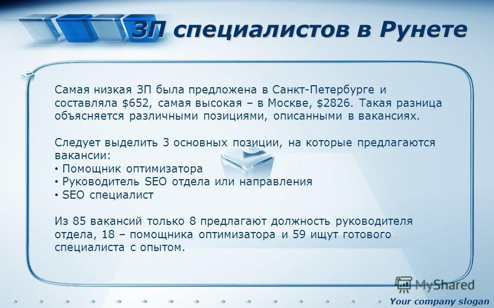 Your company slogan ЗП специалистов в Рунете Самая низкая ЗП была предложена в Санкт-Петербурге и составляла $652, самая высокая – в Москве, $2826. Такая разница объясняется различными позициями, описанными в вакансиях. Следует выделить 3 основных по