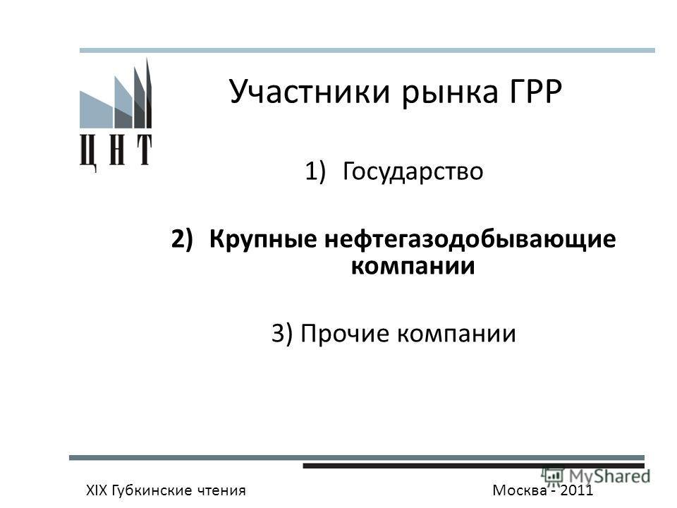 Участники рынка ГРР 1)Государство 2)Крупные нефтегазодобывающие компании 3) Прочие компании XIX Губкинские чтенияМосква - 2011