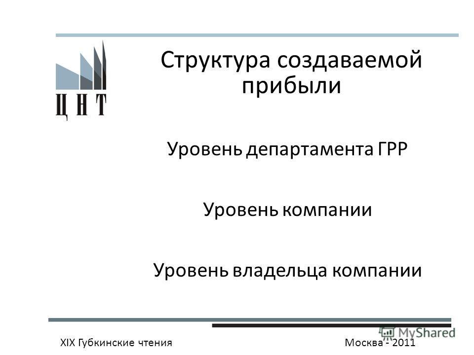 Структура создаваемой прибыли Уровень департамента ГРР Уровень компании Уровень владельца компании XIX Губкинские чтенияМосква - 2011