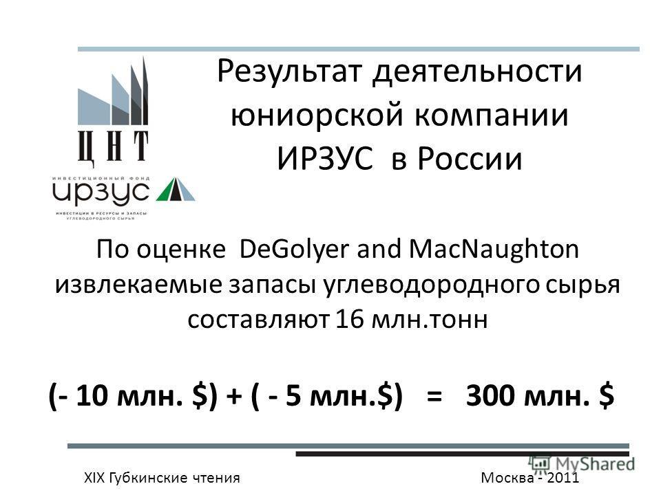 XIX Губкинские чтенияМосква - 2011 По оценке DeGolyer and MacNaughton извлекаемые запасы углеводородного сырья составляют 16 млн.тонн Результат деятельности юниорской компании ИРЗУС в России (- 10 млн. $) + ( - 5 млн.$) = 300 млн. $