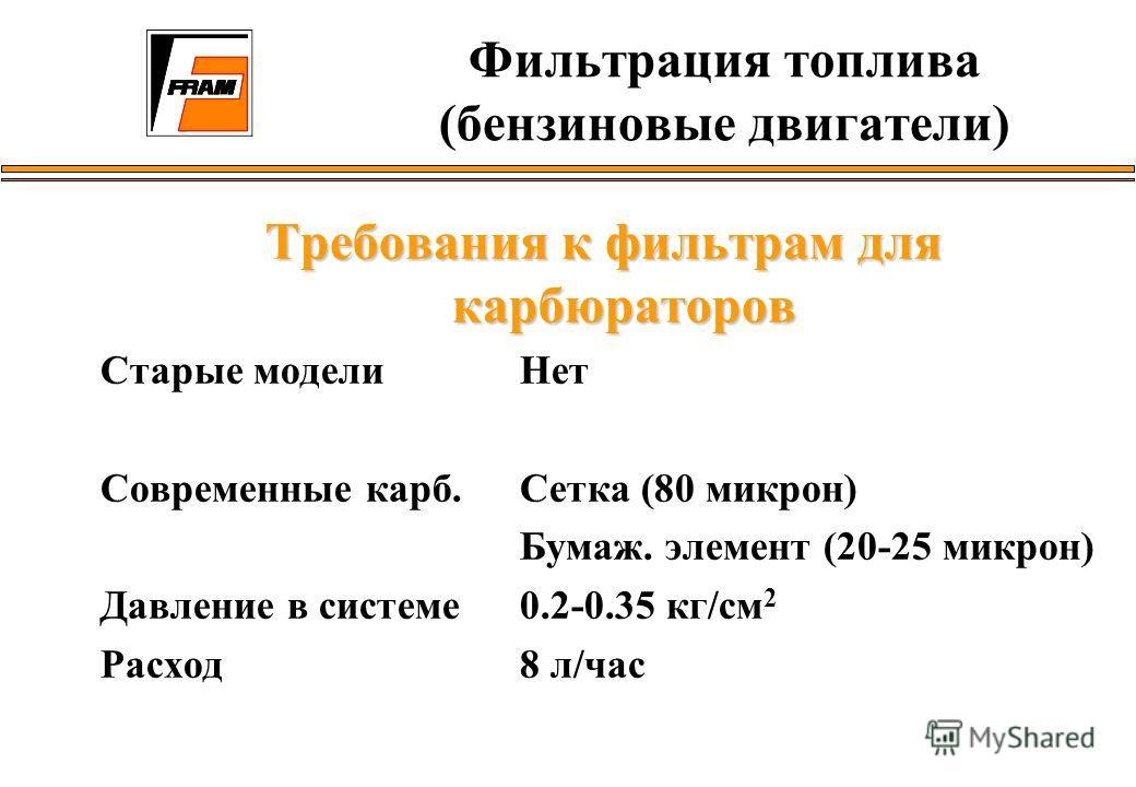 Требования к фильтрам для карбюраторов Старые модели Нет Современные карб. Сетка (80 микрон) Бумаж. элемент (20-25 микрон) Давление в системе0.2-0.35 кг/см 2 Расход 8 л/час Фильтрация топлива (бензиновые двигатели)