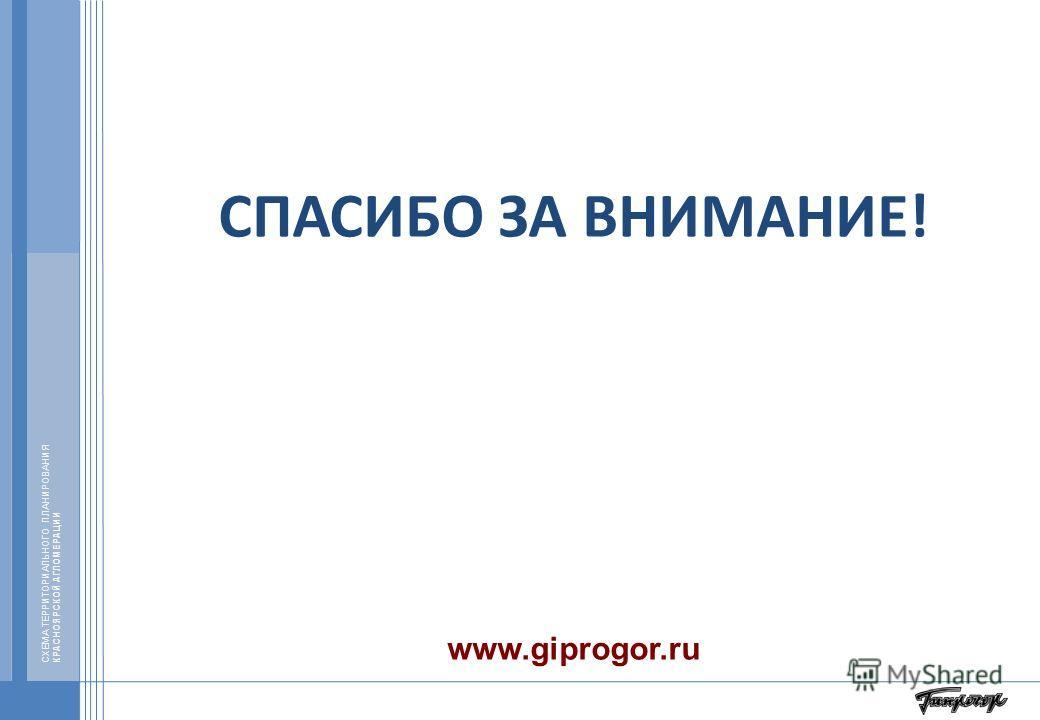 СХЕМА ТЕРРИТОРИАЛЬНОГО ПЛАНИРОВАНИЯ КРАСНОЯРСКОЙ АГЛОМЕРАЦИИ СПАСИБО ЗА ВНИМАНИЕ! www.giprogor.ru