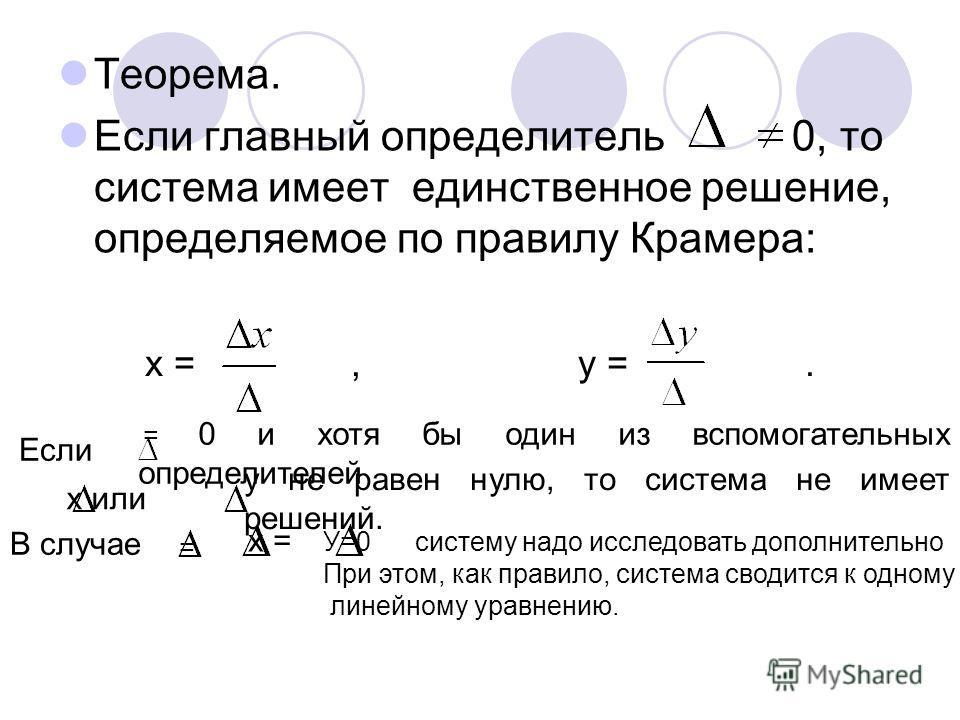 Теорема. Если главный определитель 0, то система имеет единственное решение, определяемое по правилу Крамера: х =, у =. Если = 0 и хотя бы один из вспомогательных определителей х или у не равен нулю, то система не имеет решений. В случае = х = У=0 си