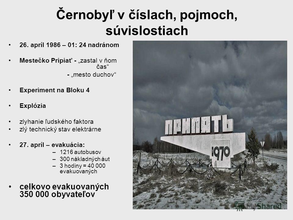 Černobyľ v číslach, pojmoch, súvislostiach 26. apríl 1986 – 01: 24 nadránom Mestečko Pripiať - zastal v ňom čas - mesto duchov Experiment na Bloku 4 Explózia zlyhanie ľudského faktora zlý technický stav elektrárne 27. apríl – evakuácia: –1216 autobus