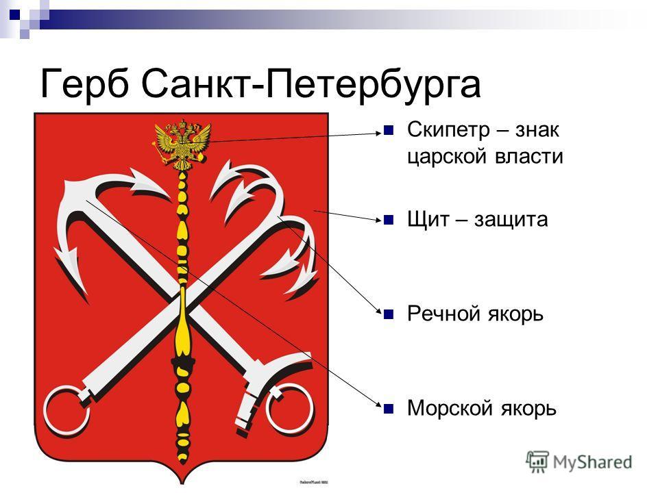 Герб Санкт-Петербурга Скипетр – знак царской власти Щит – защита Речной якорь Морской якорь