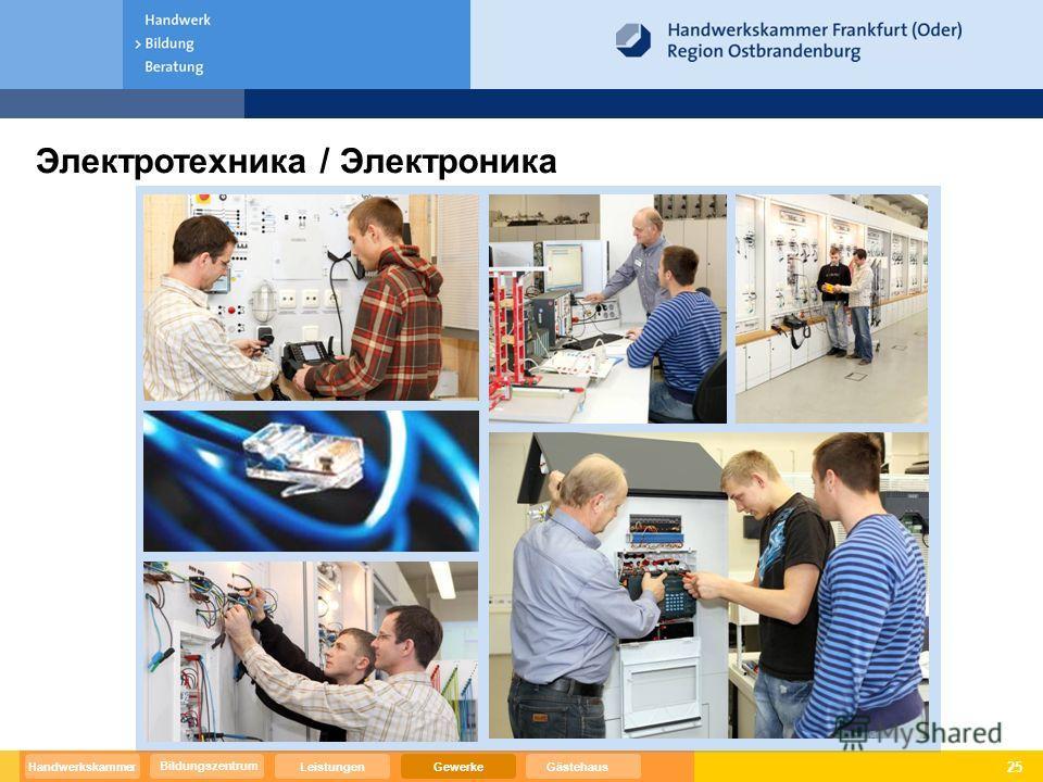 25 Электротехника / Электроника Bildungszentrum GewerkeGästehausHandwerkskammerLeistungen