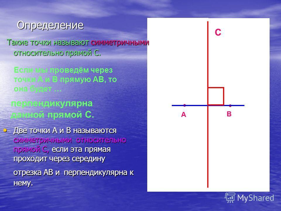 Если мы проведём через точки А и В прямую АВ, то она будет … перпендикулярна данной прямой С. А В С Такие точки называют симметричными относительно прямой С. Такие точки называют симметричными относительно прямой С. Две точки А и В называются симметр
