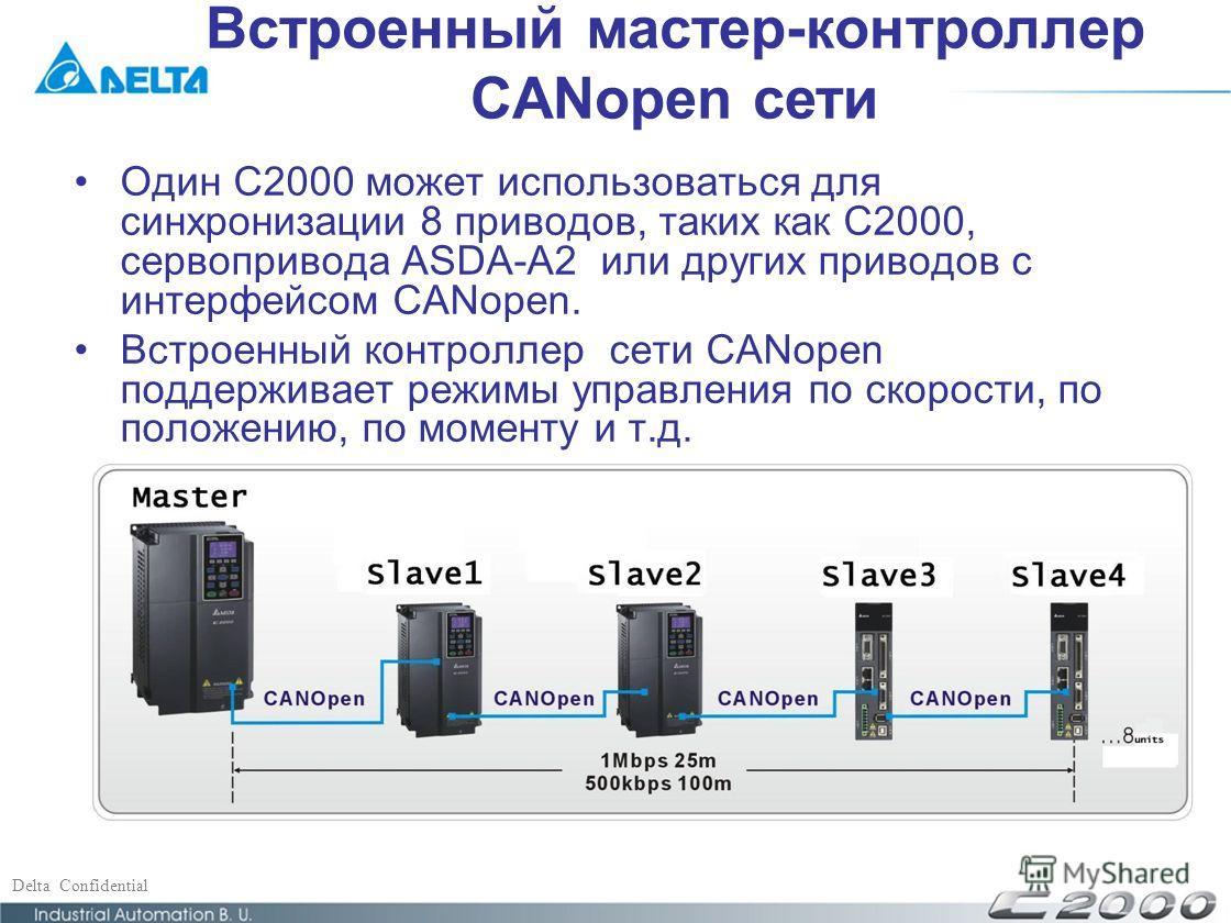 Delta Confidential Один C2000 может использоваться для синхронизации 8 приводов, таких как C2000, сервопривода ASDA-A2 или других приводов с интерфейсом CANopen. Встроенный контроллер сети CANopen поддерживает режимы управления по скорости, по положе