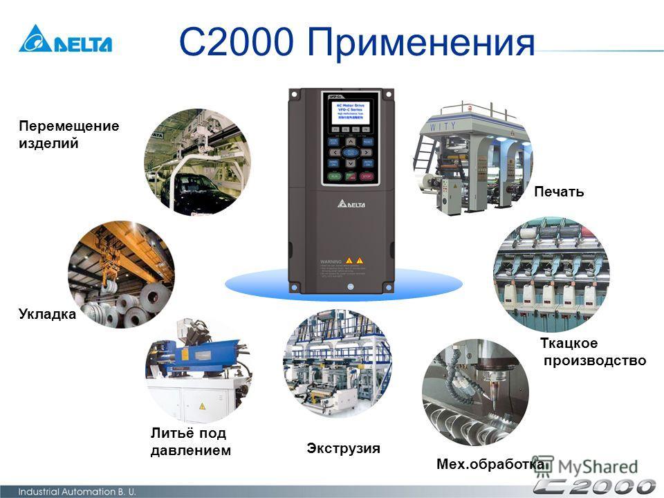 C2000 Применения Перемещение изделий Печать Литьё под давлением Мех.обработка Ткацкое производство Укладка Экструзия
