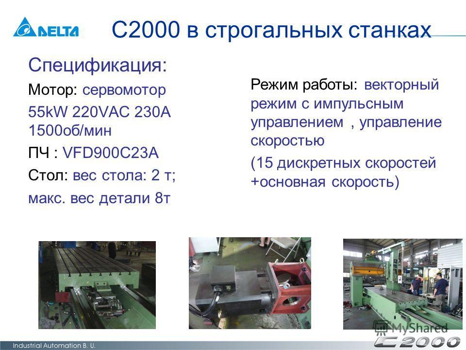 Спецификация: Мотор: сервомотор 55kW 220VAC 230A 1500об/мин ПЧ : VFD900C23A Стол: вес стола: 2 т; макс. вес детали 8т C2000 в строгальных станках Режим работы: векторный режим с импульсным управлением, управление скоростью (15 дискретных скоростей +о