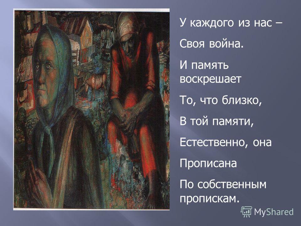 У каждого из нас – Своя война. И память воскрешает То, что близко, В той памяти, Естественно, она Прописана По собственным пропискам.
