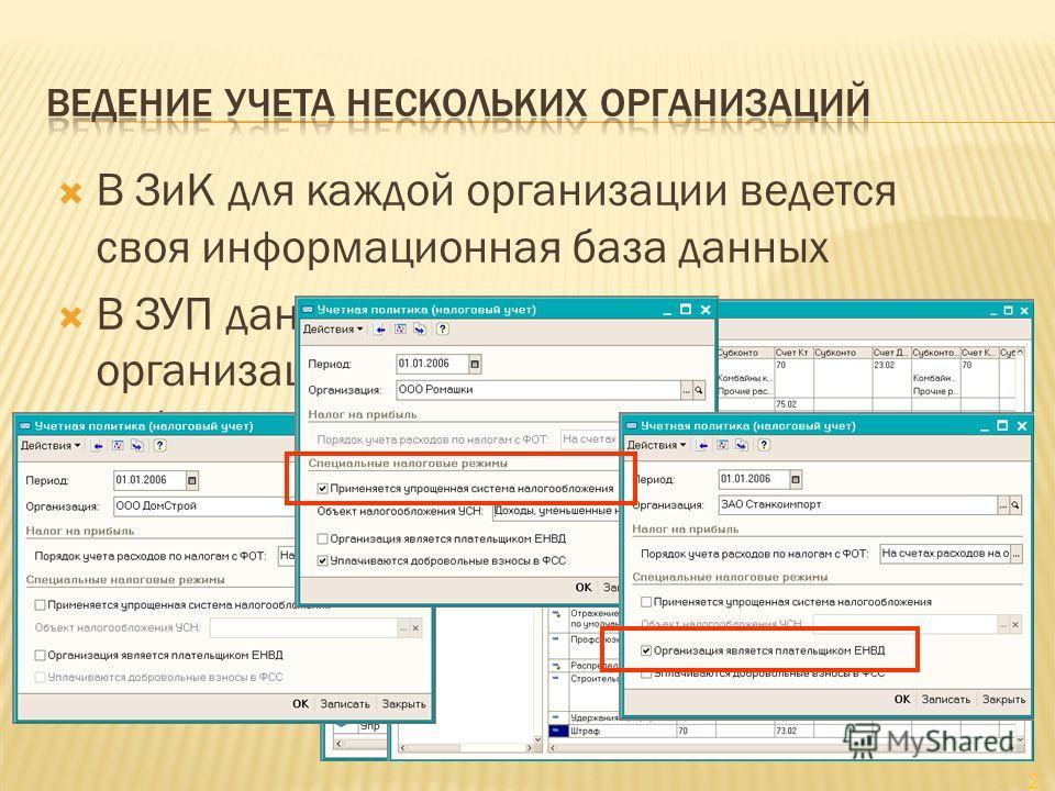 В ЗиК для каждой организации ведется своя информационная база данных В ЗУП данные учета нескольких организаций «уживаются» в одной информационной базе Не требуется ввод совпадающих данных для каждой организации отдельно Физические лица, сотрудники На