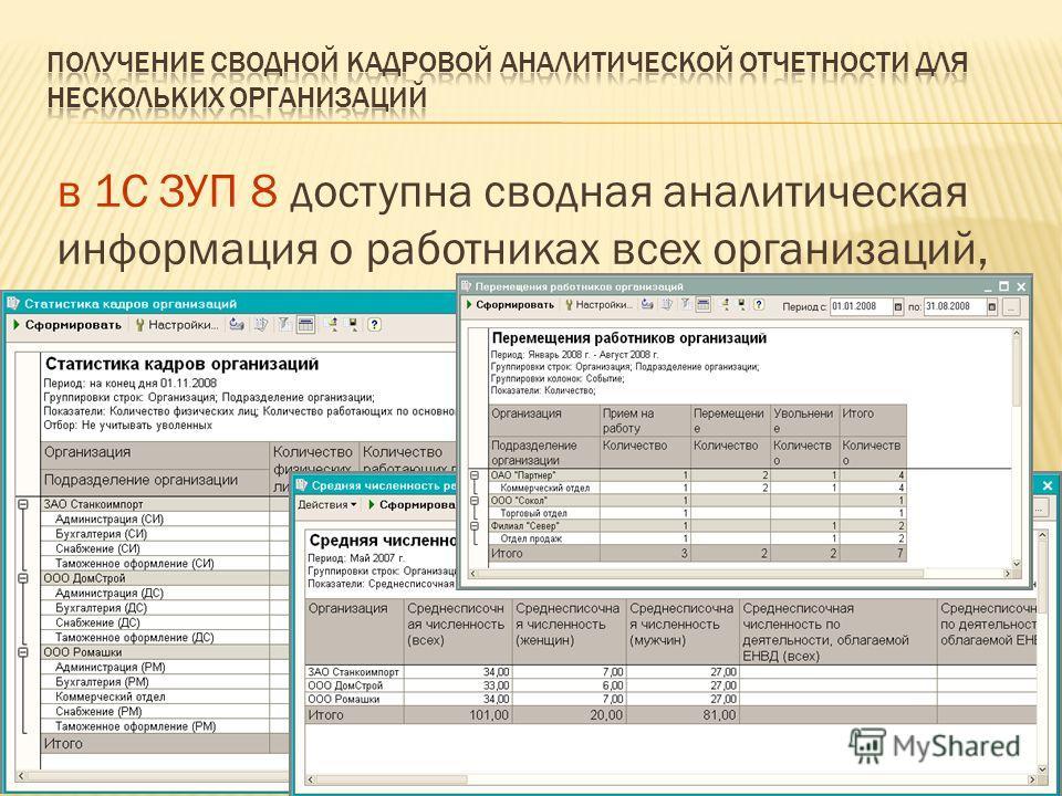 3 в 1С ЗУП 8 доступна сводная аналитическая информация о работниках всех организаций, учитываемых в единой базе данных