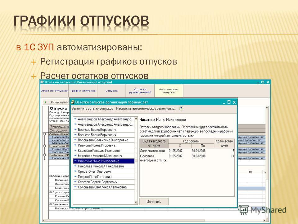 в 1С ЗУП автоматизированы: Регистрация графиков отпусков Расчет остатков отпусков