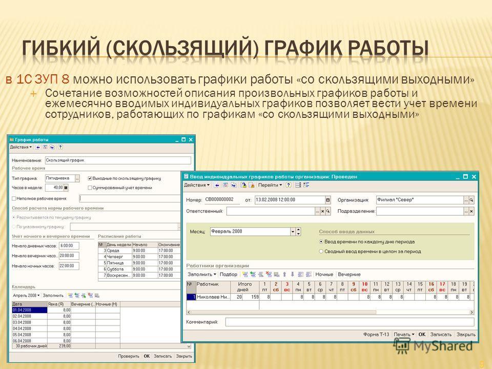 9 в 1С ЗУП 8 можно использовать графики работы «со скользящими выходными» Сочетание возможностей описания произвольных графиков работы и ежемесячно вводимых индивидуальных графиков позволяет вести учет времени сотрудников, работающих по графикам «со