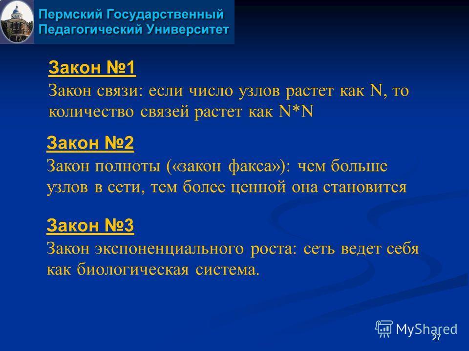 27 Закон 1 Закон связи: если число узлов растет как N, то количество связей растет как N*N Закон 2 Закон полноты («закон факса»): чем больше узлов в сети, тем более ценной она становится Закон 3 Закон экспоненциального роста: сеть ведет себя как биол