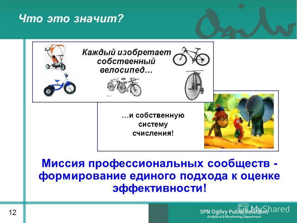 Что это значит? Миссия профессиональных сообществ - формирование единого подхода к оценке эффективности! 12 Каждый изобретает собственный велосипед… …и собственную систему счисления!