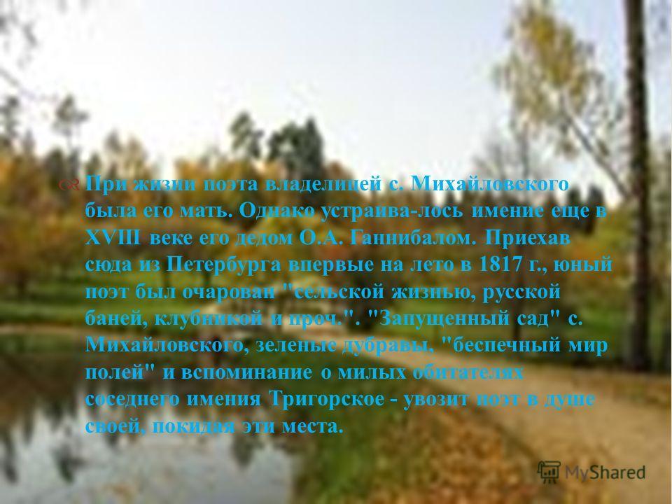 При жизни поэта владелицей с. Михайловского была его мать. Однако устраива - лось имение еще в XVIII веке его дедом О. А. Ганнибалом. Приехав сюда из Петербурга впервые на лето в 1817 г., юный поэт был очарован