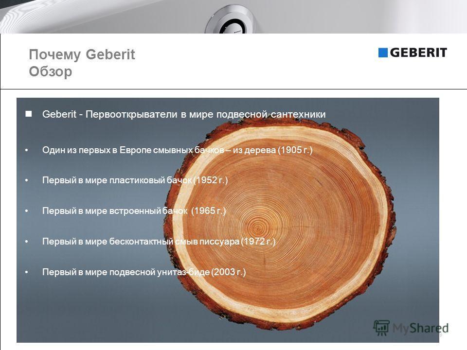 Geberit AG, Company presentation 20089 Geberit - Первооткрыватели в мире подвесной сантехники Один из первых в Европе смывных бачков – из дерева (1905 г.) Первый в мире пластиковый бачок (1952 г.) Первый в мире встроенный бачок (1965 г.) Первый в мир
