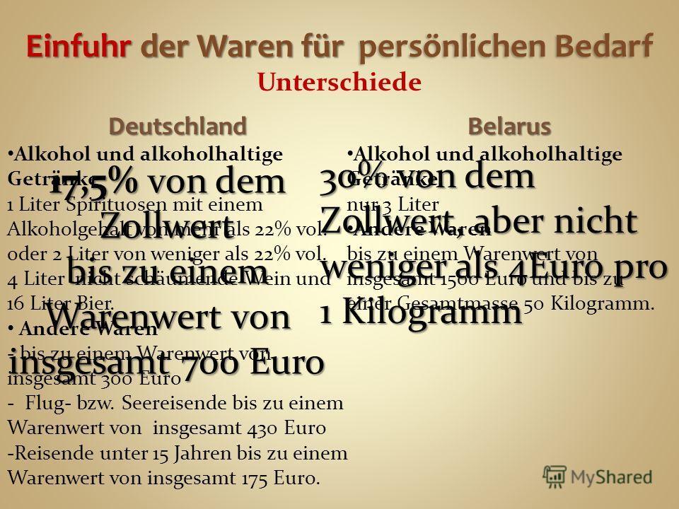 Einfuhr der Waren für persönlichen Bedarf Einfuhr der Waren für persönlichen Bedarf Unterschiede Deutschland Alkohol und alkoholhaltige Getränke 1 Liter Spirituosen mit einem Alkoholgehalt von mehr als 22% vol. oder 2 Liter von weniger als 22% vol. 4