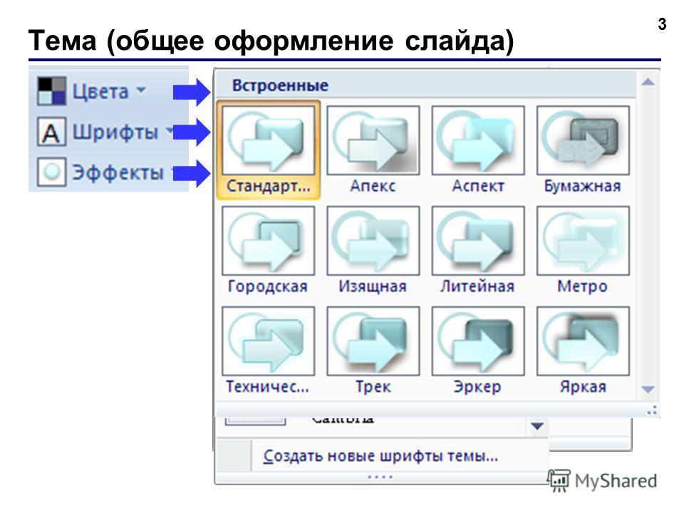 Тема (общее оформление слайда) 3