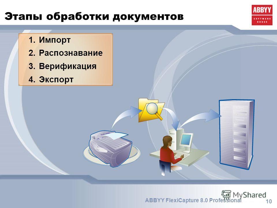 10 ABBYY FlexiCapture 8.0 Professional Этапы обработки документов 1.Импорт 2.Распознавание 3.Верификация 4.Экспорт