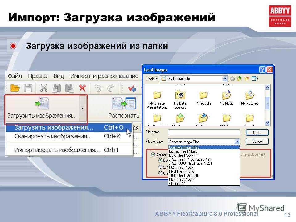 13 ABBYY FlexiCapture 8.0 Professional Импорт: Загрузка изображений Загрузка изображений из папки