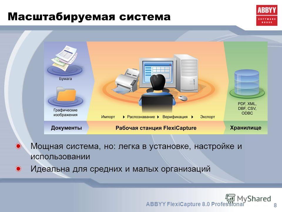 8 ABBYY FlexiCapture 8.0 Professional Масштабируемая система Мощная система, но: легка в установке, настройке и использовании Идеальна для средних и малых организаций
