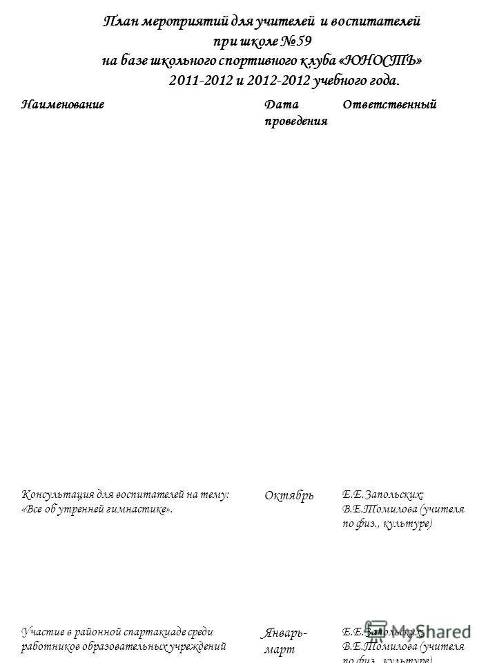План мероприятий для учителей и воспитателей при школе 59 на базе школьного спортивного клуба «ЮНОСТЬ» 2011-2012 и 2012-2012 учебного года. НаименованиеДата проведения Ответственный Консультация для воспитателей на тему: «Все об утренней гимнастике».