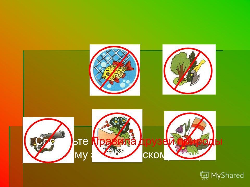 Составьте Правила друзей природы к каждому экологическому знаку.