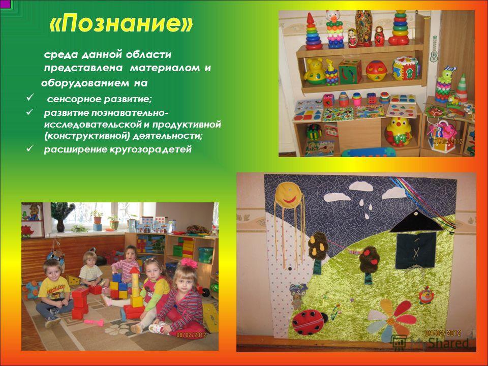 среда данной области представлена материалом и оборудованием на сенсорное развитие; развитие познавательно- исследовательской и продуктивной (конструктивной) деятельности; расширение кругозора детей