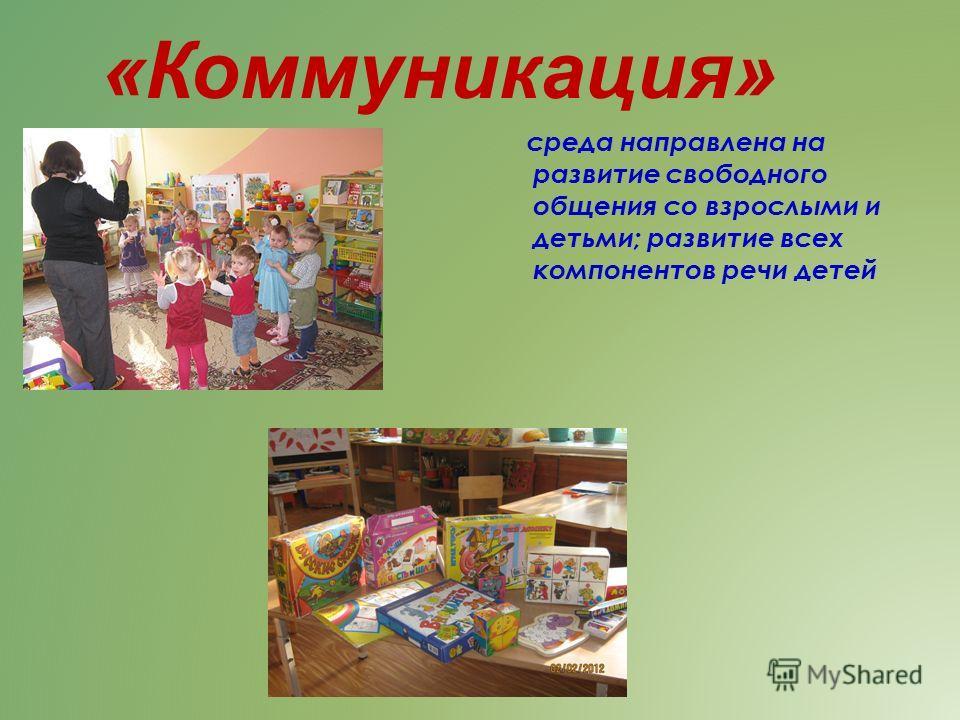 среда направлена на развитие свободного общения со взрослыми и детьми; развитие всех компонентов речи детей «Коммуникация»