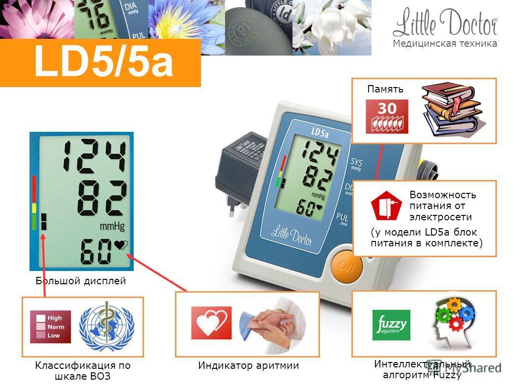 Большой дисплей Интеллектуальный алгоритм Fuzzy Классификация по шкале ВОЗ Индикатор аритмии Память (у модели LD5a блок питания в комплекте) Возможность питания от электросети LD5/5a Медицинская техника