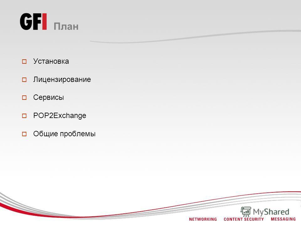 План Установка Лицензирование Сервисы POP2Exchange Общие проблемы