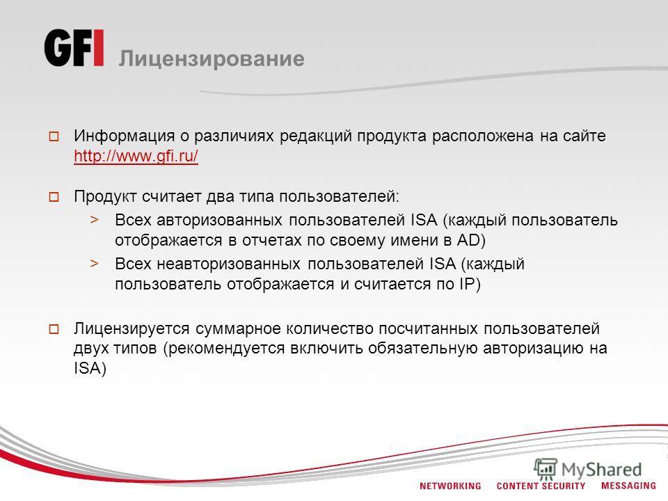Лицензирование Информация о различиях редакций продукта расположена на сайте http://www.gfi.ru/ http://www.gfi.ru/ Продукт считает два типа пользователей: >Всех авторизованных пользователей ISA (каждый пользователь отображается в отчетах по своему им