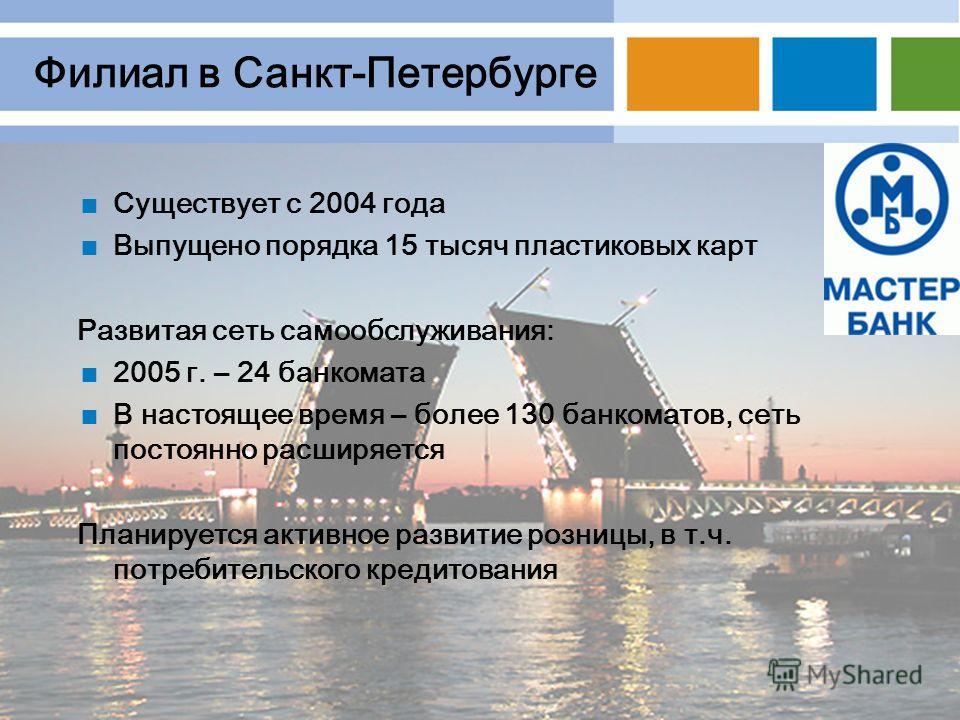 Филиал в Санкт-Петербурге Существует с 2004 года Выпущено порядка 15 тысяч пластиковых карт Развитая сеть самообслуживания: 2005 г. – 24 банкомата В настоящее время – более 130 банкоматов, сеть постоянно расширяется Планируется активное развитие розн